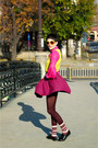 Hot-pink-thrifted-shirt-maroon-h-m-socks-yellow-h-m-sunglasses