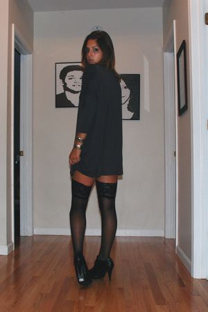 black stockings - gray H&M dress