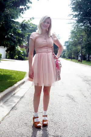 pink vintage dress - beige Kork ease shoes - white Target socks - pink coach acc