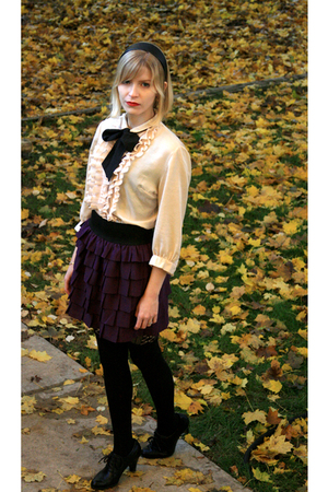 beige ruffle vintage blouse - black born shoes - black thigh high Target tights