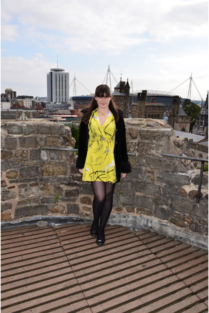 yellow Verycom dress - black vintage cardigan