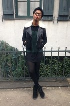 leather bomber Comptoir des Cotonniers coat - velvet doc martens boots