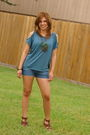 Blue-forever-21-blouse-blue-forever21-shorts-brown-gojane-shoes-green-fore