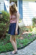 pink vintage top - blue abercrombie and fitch skirt - brown FSNY shoes - beige v