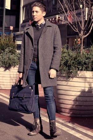dark brown Aldo boots - navy Levis jeans - dark gray Club Monaco sweater