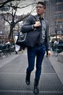 Navy-levis-jeans-charcoal-gray-cpo-shirt-black-coach-bag-black-uniqlo-tie