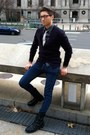 Black-call-it-spring-boots-blue-h-m-jeans-dark-green-topman-shirt