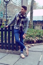 beige Vans shoes - blue H&M jeans - heather gray Club Monaco sweater