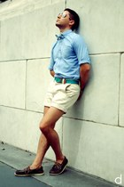 teal The Tie Bar tie - sky blue J Crew shirt - eggshell Topman shorts