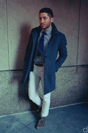 navy Frank & Oak shirt - tan Clarks boots - gray American Apparel coat