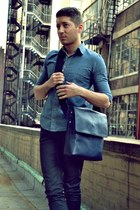blue American Apparel shirt - navy Jack Spade bag - black Zara pants