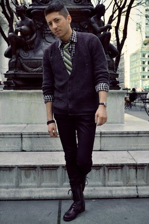 dark gray H&amp;M cardigan - black Candies boots - black CPO shirt