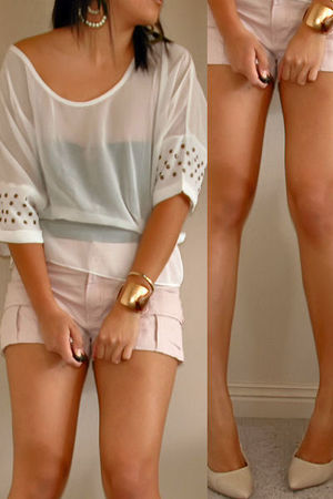 pink shorts - white top - beige shoes - gold accessories