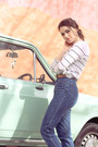 Blue-vintage-jeans-white-striped-country-road-top-navy-see-by-chloe-jumper
