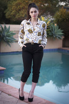 silk nautical vintage blouse - black Topshop pumps - black Sportsgirl pants
