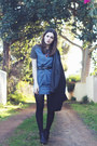 Black-ankle-boots-topshop-boots-blue-patterned-wrap-poppy-lissiman-dress