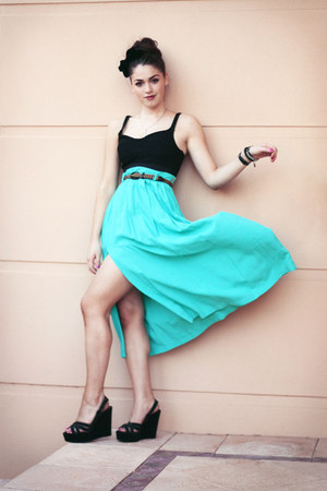 turquoise blue vintage skirt - black suede BeeFly wedges - black Sportsgirl top