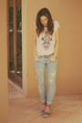 Light-blue-nobody-jeans-white-willow-t-shirt