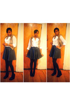 H&M skirt - Aldo shoes - Loft blouse - H&M vest