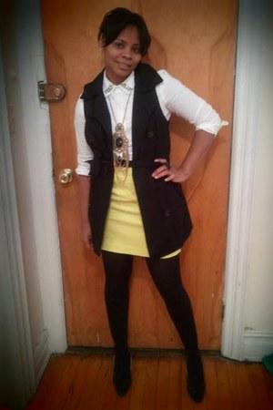 Forever 21 vest - Loft blouse - Loft skirt - Forever 21 accessories