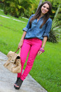 Gray-shoedazzle-boots-hot-pink-zara-jeans-blue-forever-21-shirt-tan-mimi-b