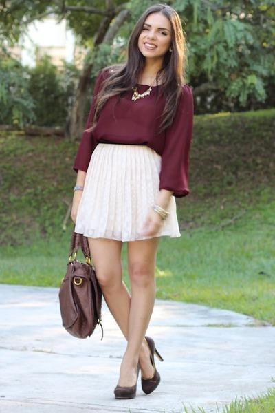 beige Forever 21 skirt - dark brown Nine West shoes