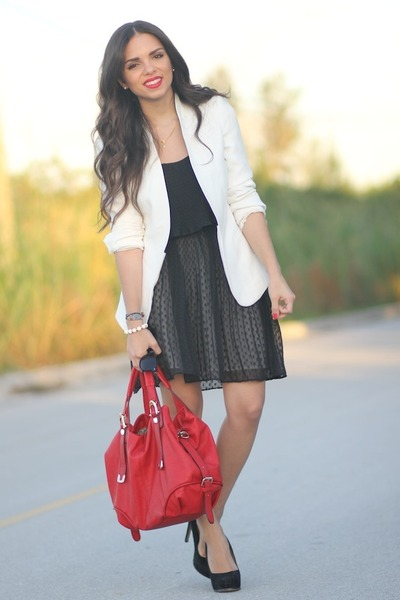 black Dolce Vita dress - white Zara blazer - ruby red Mimi Boutique bag