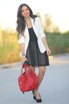black Dolce Vita dress - white Zara blazer - ruby red Mimi Boutique bag