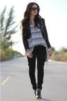silver Furor shirt - black BCBG boots - black H&M jacket