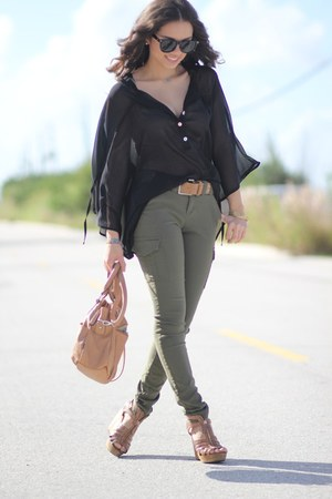 black sheer Furor blouse - brown Steve Madden shoes - brown Mimi Boutique bag