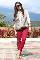 silver Sugarlips vest - off white Forever 21 boots - ruby red JC Penney jeans