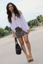 brown leopard Forever 21 skirt - black Mimi Boutique bag - white Express top