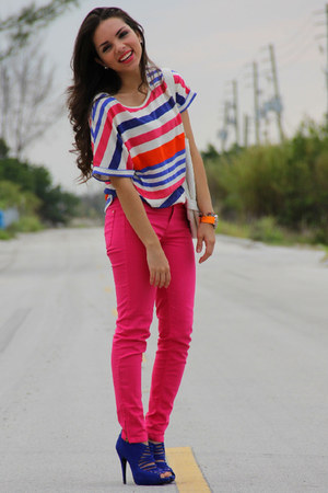 hot pink Zara jeans - hot pink Zara shirt - white Express bag - blue Aldo heels