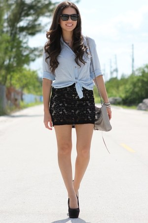 black Forever 21 skirt - light blue Romwecom shirt - silver Rebecca Minkoff bag