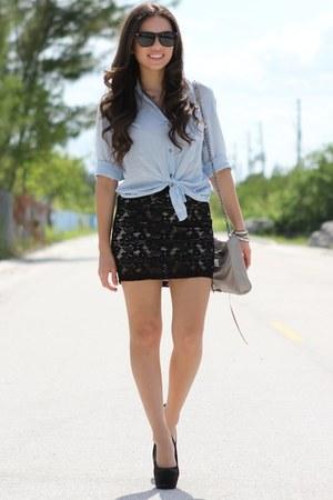 black Forever 21 skirt - light blue Romwecom shirt - silver Rebecca Minkoff bag
