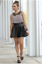 black faux leather 2020 Ave skirt - black studded pink and pepper shoes