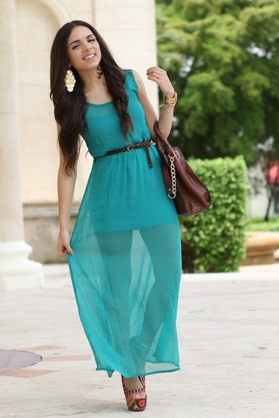 turquoise blue She Inside dress - carrot orange Bakers shoes