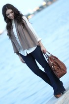 navy Forever 21 jeans - brown Jessica Simpson shoes - beige furor moda shirt