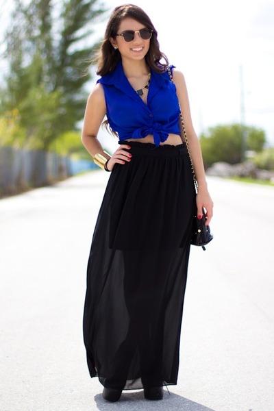 blue beginning boutique shirt - black vintage bag - black UrbanOG shorts