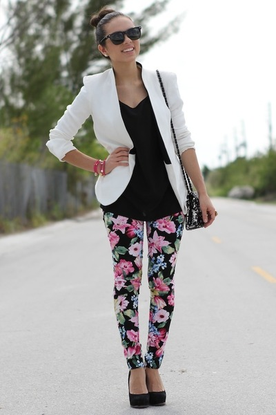 white Zara blazer - black Forever 21 shirt - black Mimi Boutique bag