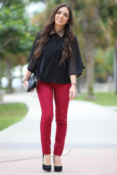 black Forever 21 blouse - black Mimi Boutique bag - ruby red JC Penney pants