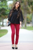 black Forever 21 blouse - black Mimi Boutique bag - ruby red JC Penney pants