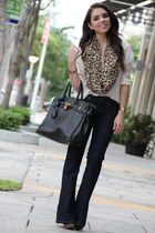 brown leopard Forever 21 scarf - navy boot cut Forever 21 jeans