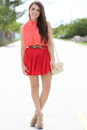 red beginning boutique skirt - gold Mimi Boutique bag - salmon romwe top
