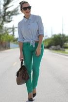green JC Penney pants - black Forever 21 shoes - light blue romwe shirt