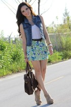 chartreuse Forever 21 skirt - dark brown Mimi Boutique bag