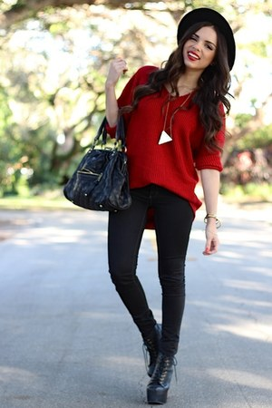 black Jeffrey Campbell shoes - black JC Penney jeans - black Forever 21 hat