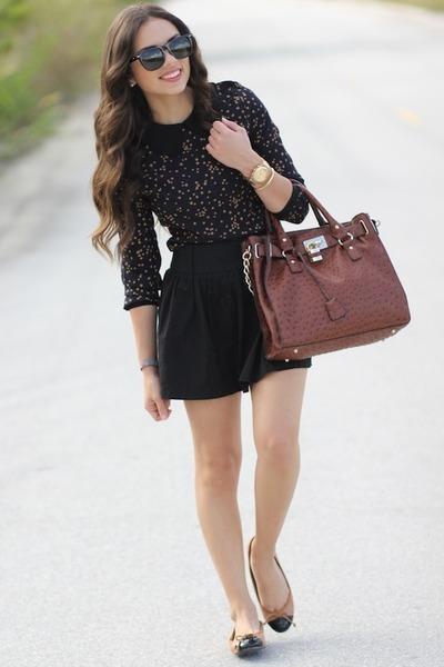 brown Mimi Boutique bag - black Furor sunglasses - black Forever 21 skirt