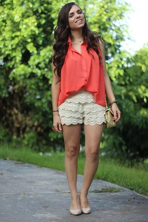 off white OASAP shorts - salmon romwe shirt - tan Mimi Boutique bag
