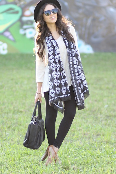 black Furor scarf - bronze Jessica Simpson shoes - black Forever 21 hat